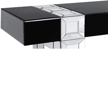 Up close of the black table top and mirrored leg