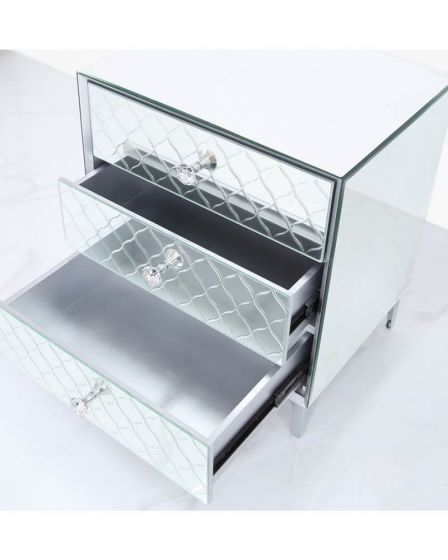 Mirrored Quatrefoil Designed 3 Drawer Bedside Cabinet