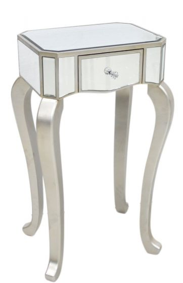Mirrored Small Lamp Table With Champagne Finish