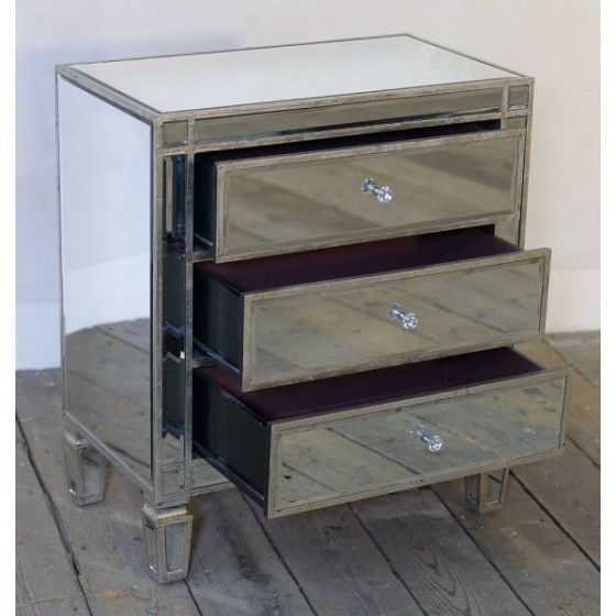 Mirrored Antique Small Venetian Chest