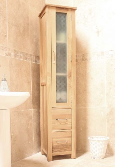 Modern Light Oak Closed Bathroom Unit Tall