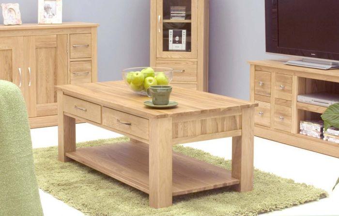 Modern Light Oak Four Drawer Coffee Table