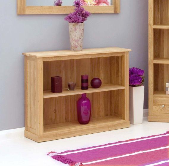 Modern Light Oak Low Bookcase