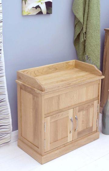 Modern Light Oak Shoe Bench with Hidden Storage