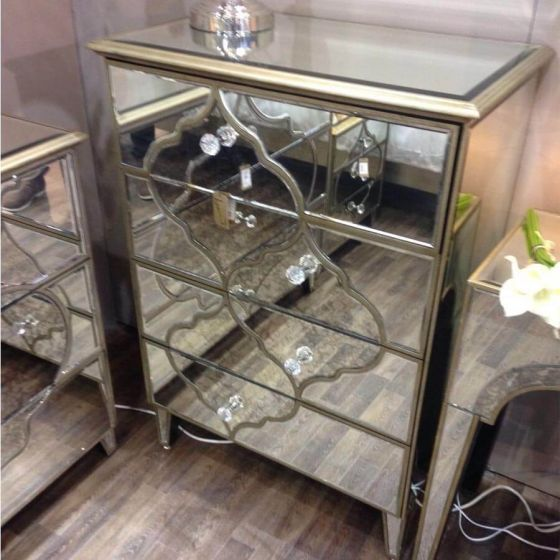 Morocco Mirrored 4 Drawer Tall Chest of Drawers