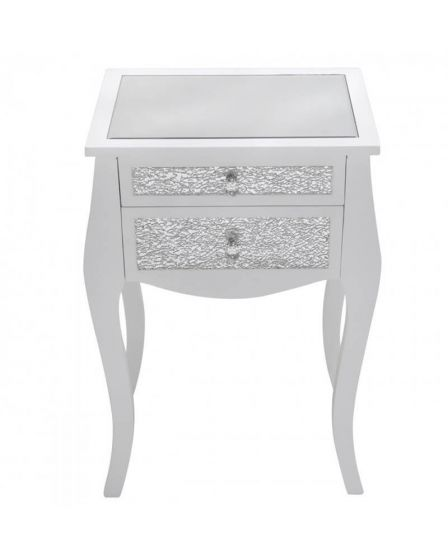 Mosaic Olly White Sparkly Side Table with Mirrored Top