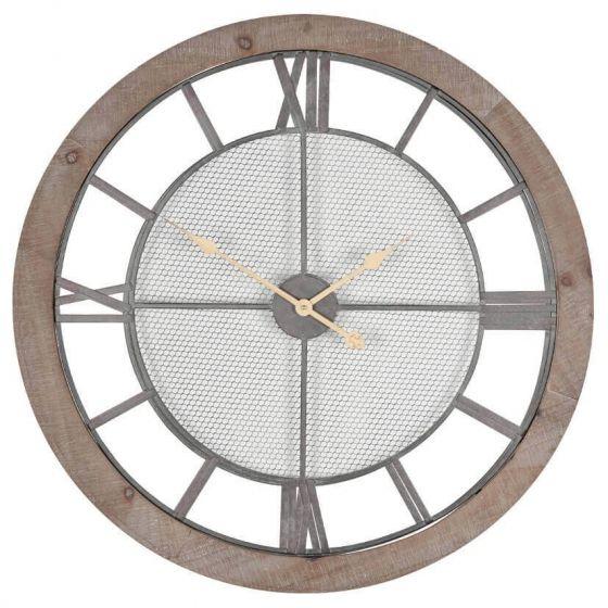Natural Wood and Gold Wall Clock