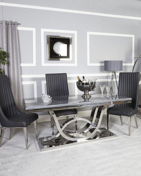 Neptune Grey Marble Dining Set