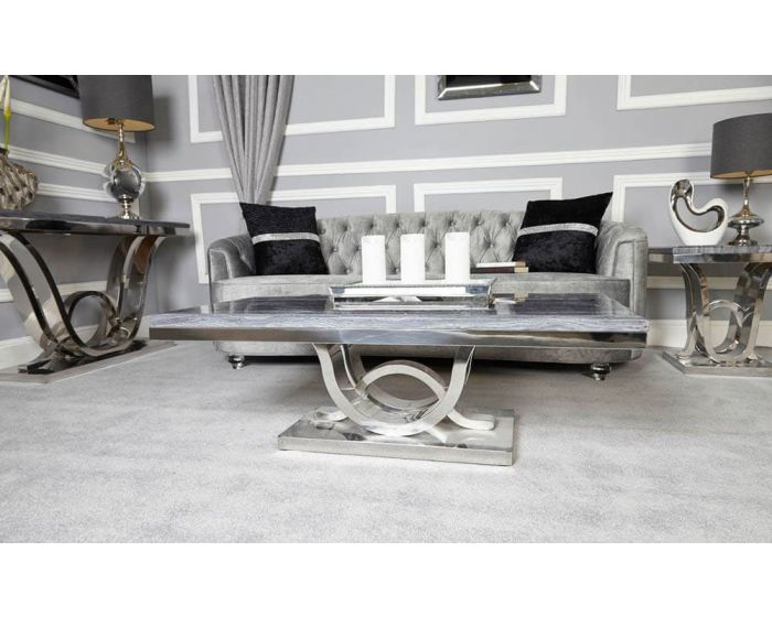 Neptune Grey Marble Coffee Table