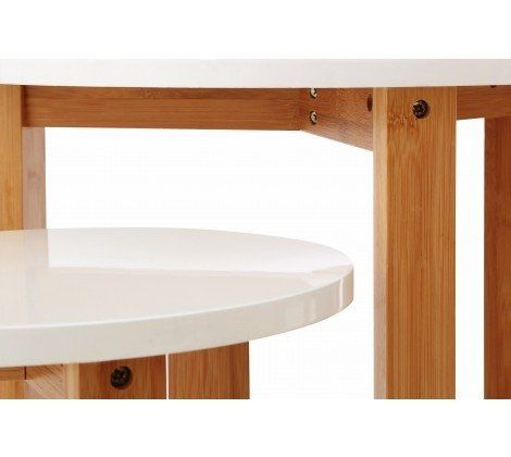Nest Of 3 Tables With White Gloss Tops And Bamboo Legs