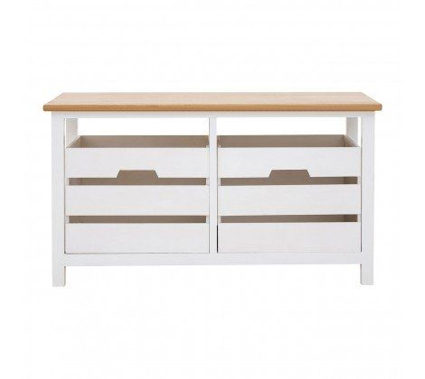 Newport White Slatted 2 Drawer Bench