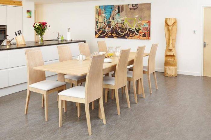 Oiled Light Oak Designer Extending Dining Table