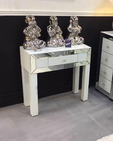 Olivia Mirror Glass White Console Table