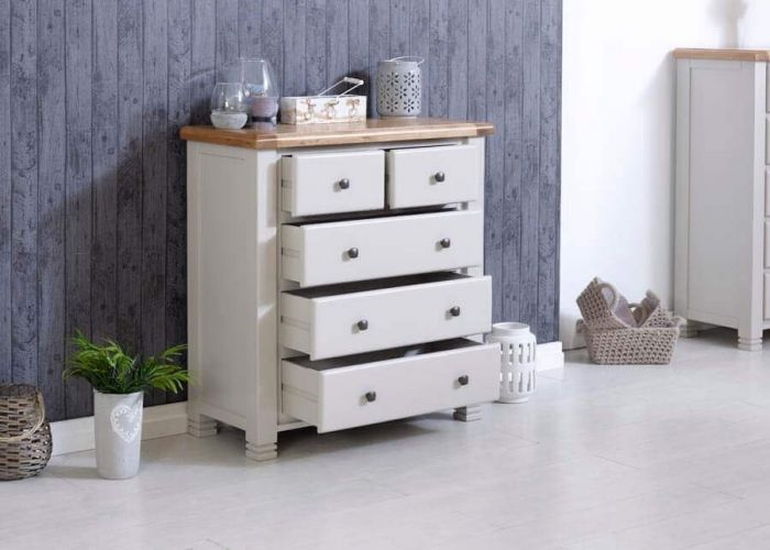Oxfordshire Chest Of 5 Drawers - Open Drawers Grey