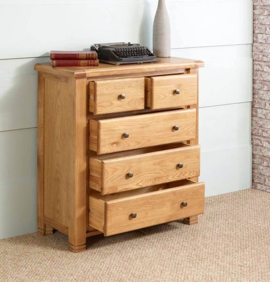 Oxfordshire Chest Of 5 Drawers - Open Drawers