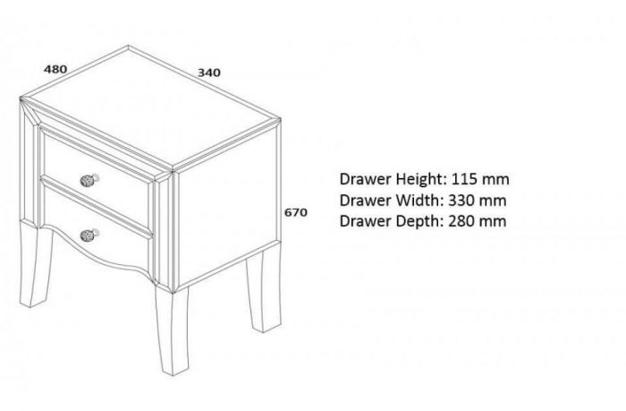 Palma Bedside Cabinet Dimensions and Spec Images