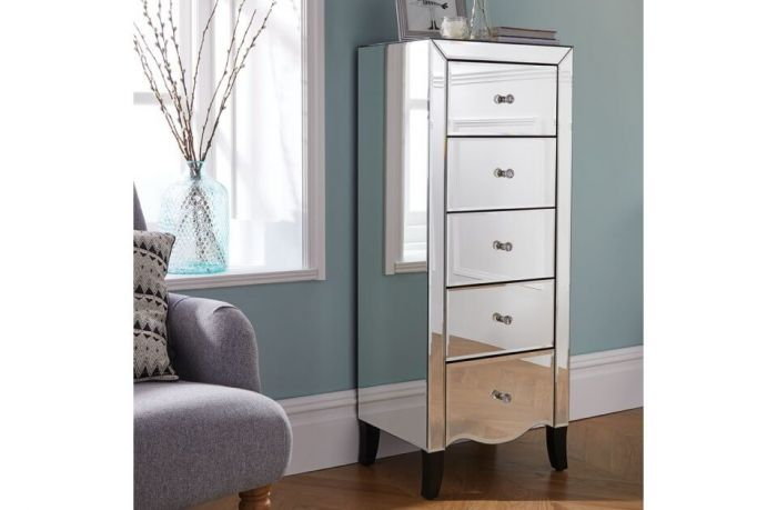Palma Mirrored Tallboy Narrow Chest