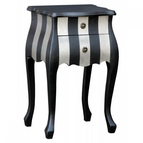 Parallels Black And Silver 2 Drawer Bedside Cabinet