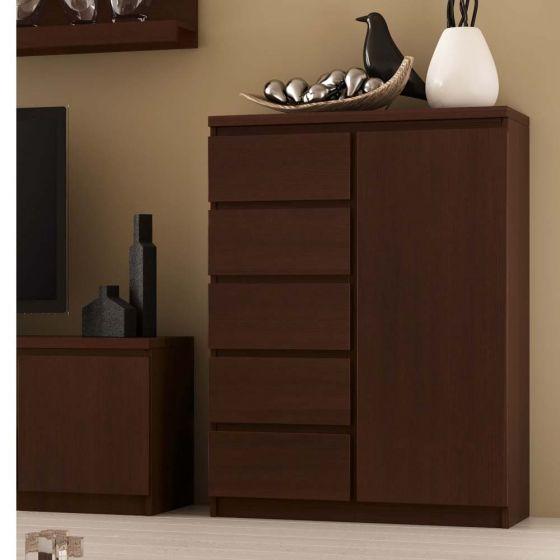 Pello 1 Door 5 Drawer Cabinet In Dark Mahogany
