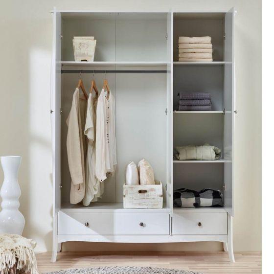 Provence Inspired White Wardrobe 3 Doors 1+1 Drawers