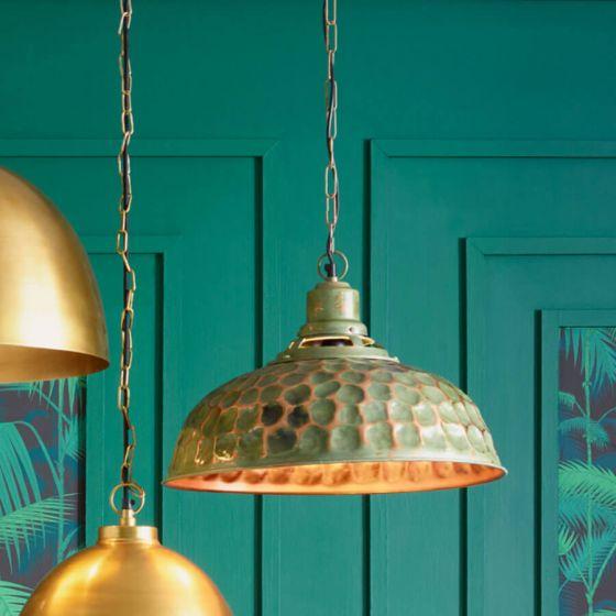 Raze Shabby Green and Copper Metal Pendant