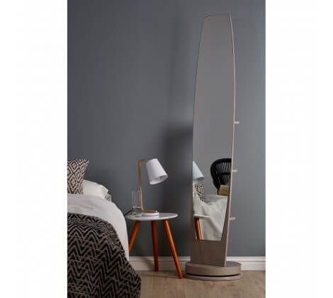 Revolving Floor Standing Mirror with Shelves