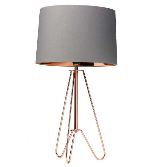 Retro Wire Tripod Lamp Grey Shade Copper Base