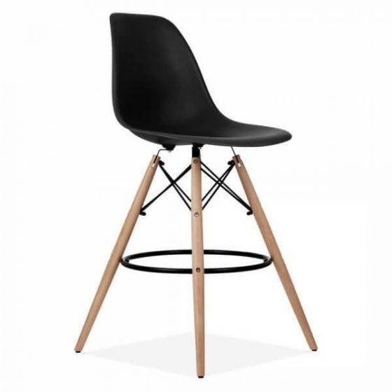 Retro Designer Style Wooden Bar Stool - Black