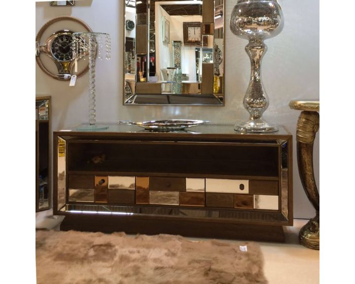 Rivelin Wood and Mirrored TV Cabinet