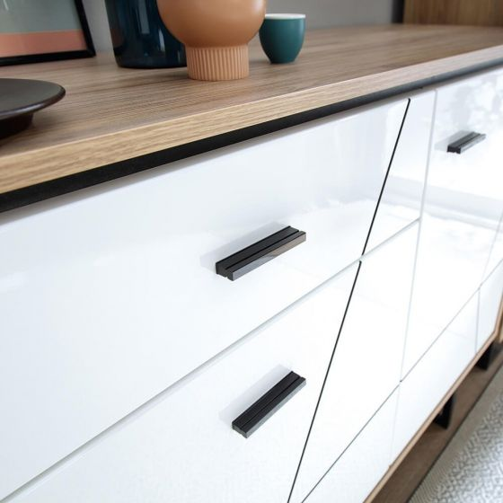 Rolo 3 Door Sideboard in White and Dark Wood