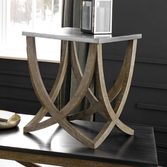 Rustic Rock & Mango Wood Side Table