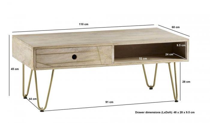 Sai Light Gold Rectangular Coffee Table With Gold Inlay