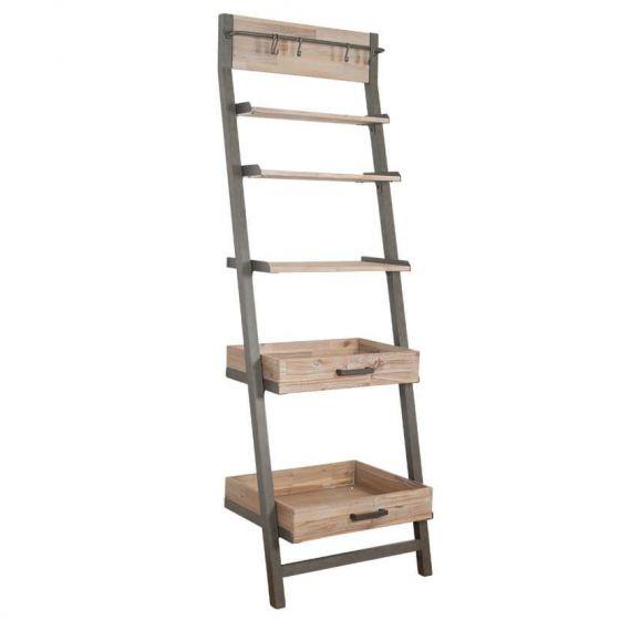 Salvatore Acacia Wood 5 Shelf Ladder Unit