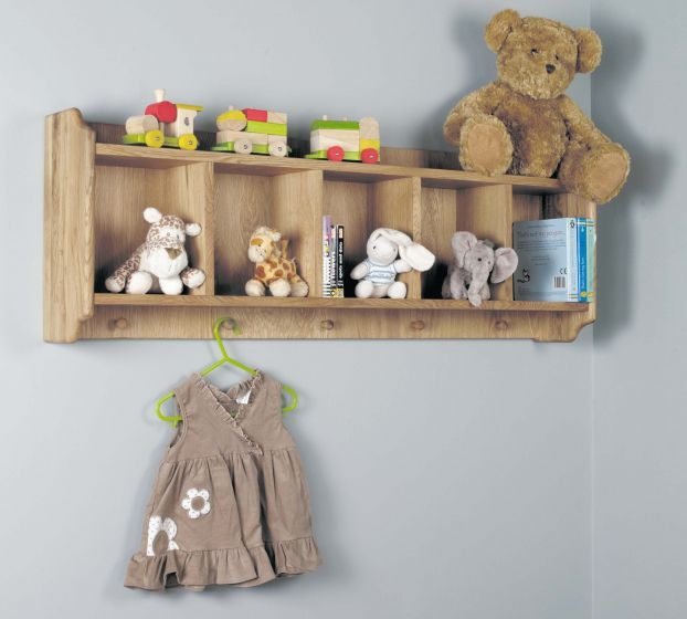 Satin Solid Oak Wall Shelf with Hanging Pegs