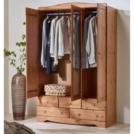 Scandinavian Pine 3+5 Wardrobe with Mirror