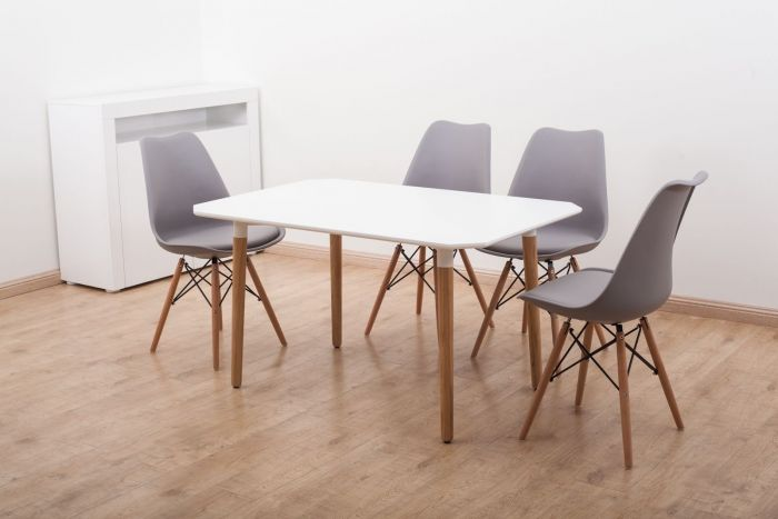 Scandinavian Beachwood Dining Set with 4 Chairs