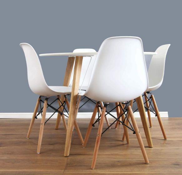 Scandinavian White & Oak Round Dining Set