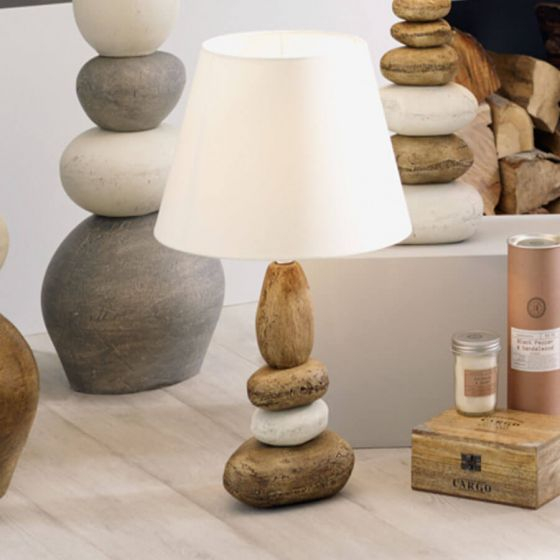 Seascape Small Natural Ceramic Pebble Table Lamp