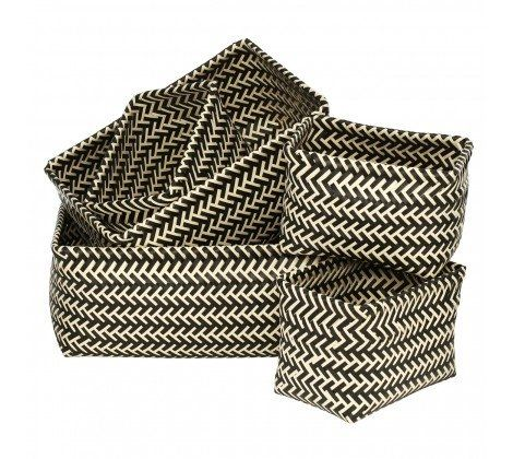 Set of 5 Funky Woven Storage Baskets