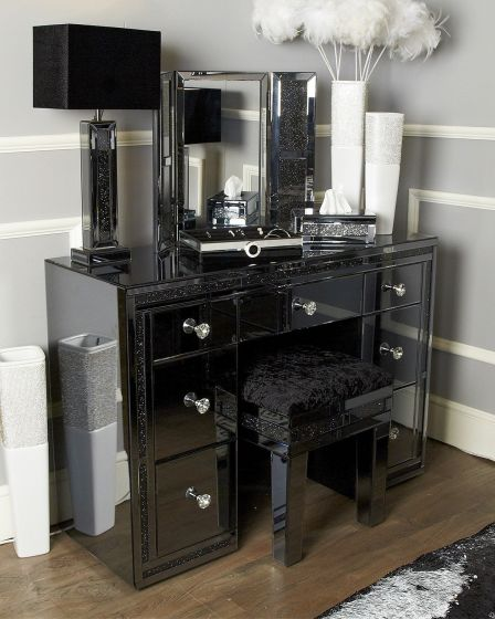 Smoked Glass Jersey Dressing Table