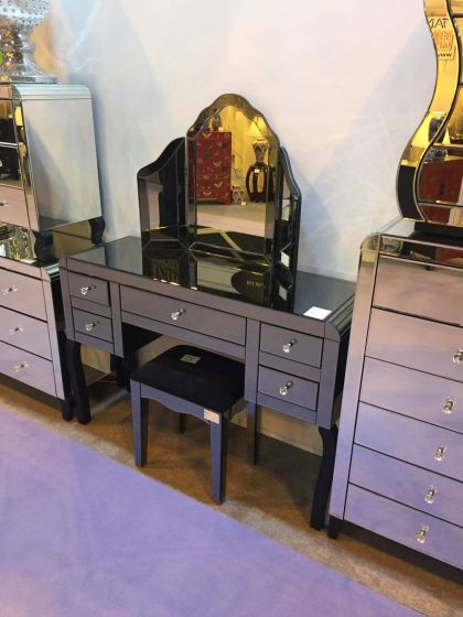 Smoked Mirrored Dressing Table Stool