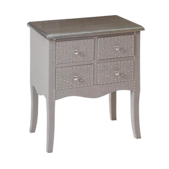 Stone Linen 4 Drawer Console Table
