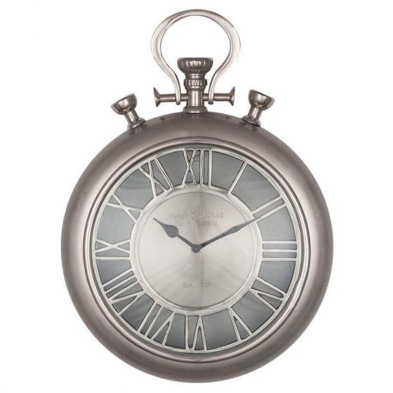 Stafford Mills Nickel Stopwatch Wall Clock