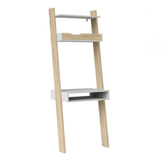 Stockholm Leaning Desk in White With Black or Oak