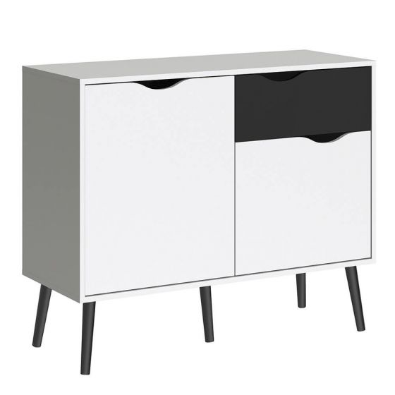 Stockholm Small Sideboard in White With Black or Oak