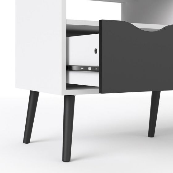 Stockholm TV Unit in White with Black or Oak