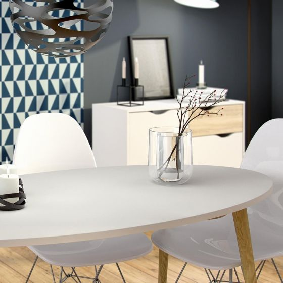 Stockholm Dining Table in White with Black or Oak