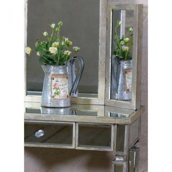 Torino Mirrored Distressed Dressing Table Set