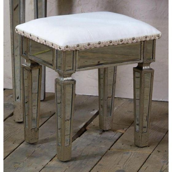 Torino Mirrored Distressed Dressing Table Set