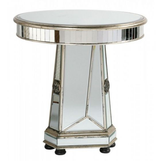 Torino Mirrored Distressed Wooden Round Side Table